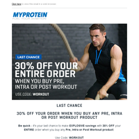 Wednesday Workouts – 30% OFF Your ENTIRE Order | Ends Midnight Tonight!