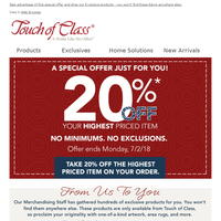 Sparklers & Savings just for you - Enjoy 20% Off one item