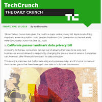 California passes a big privacy bill. It's The Daily Crunch.