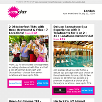 2 Oktoberfest Tkts, Bratwurst & Beer £12 | Bannatyne Spa Day with 3 Treatments £49 | Open Air Cinema Tkt £6 | Up to 25% off Airport Lounge £1 | PRINCE2 Foundation Course £19