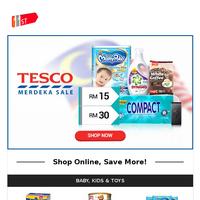 RM15 & RM30 Coupons To Jimat More @ Tesco Merdeka Sale!