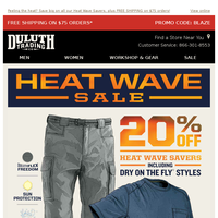 Heat Wave Savings - 20% OFF Dry On The Fly Gear On Now!