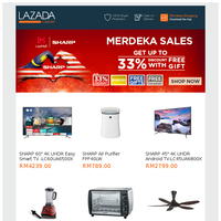 Sharp Merdeka Sales, Up to 33% Discount