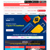 The wait is finally over, Lazada Merdeka Deals are now on! + Up to 11% Cashback