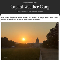 Capital Weather Gang: D.C.-area forecast: Heat wave continues through tomorrow, then cooler with rising shower and storm chances