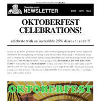 🍺🍻🍺 25% OFF Oktoberfest Discount code NEWSLETTER EXCLUSIVE!!!