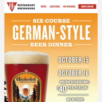 6-Course Beer Dinner Featuring BJ's Oktoberfest