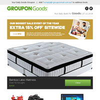 Boxing day sale ends tonight! | Bamboo Latex Mattress, Kids' Ride-On Electric Car, 11.6'' Convertible Laptop, Bamboo Cool Gel Mattress Topper & More