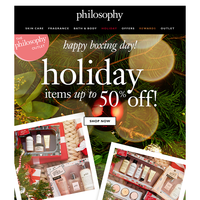 boxing day special: 50% off holiday!