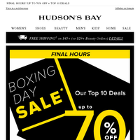 Our BOXING DAY SALE ends tonight! Don't miss UP TO 70% OFF