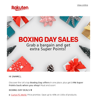 Hi {NAME}, Boxing Day special continues! Get 14% back in rewards when you shop!