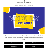 Boxing Day: final hours for Arc'teryx & The North Face ⏰
