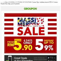 MASSIVE Merdeka Sale! Up To 59% OFF | Deals from RM5.9!