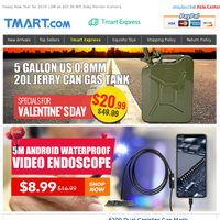 20L Jarry Can Gas Tank Just $20.99, Hurry! 5M Waterproof Endoscope Cam $8.99