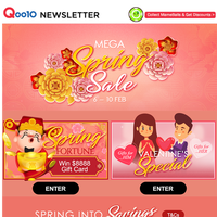 SPRING MEGA SALE STARTS NOW! Shop for your Valentines Gift today and win up to $8000 worth of prizes and s