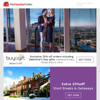 25% Off Buyagift - Make Your Valentines An Experience