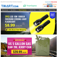 Almost Gone! 20L Jarry Can Gas Tank Just $20.99. 2PCS LED Flashlight Only $8.99. USA Stock.