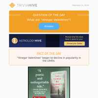 Wednesday's Daily Trivia Hive Question is up
