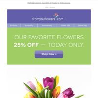 25% Off Freshly Picked Tulips & Lilies