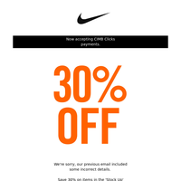 CORRECTION: 30% Off Classic Nike Styles