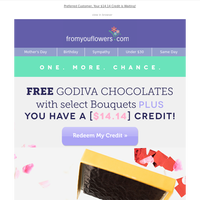 Free Godiva Chocolates with select Blooms! Expires Tonight