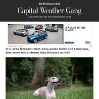 Capital Weather Gang: D.C.-area forecast: Heat wave peaks today and tomorrow, plus some more storms may threaten as well