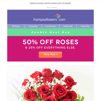 Up to 50% Off Red, White & Blooming Bouquets