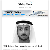 UAE declares 3-day mourning over royal's death; Expat tycoons welcome UAE's new investment policy; Sudan crisis: UAE calls for talks to avoid violence