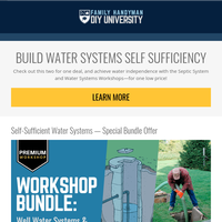 Special offer from DIY University! Achieve water independence.
