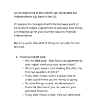 For you financial independence