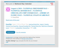 [New post] August 4, 2019 – NATIONAL FRIENDSHIP DAY – NATIONAL SISTERS DAY – NATIONAL CHOCOLATE CHIP COOKIE DAY – AMERICAN FAMILY DAY – NATIONAL COAST GUARD DAY