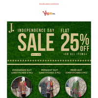 Flat 25% Off J. Independence Day Sale!