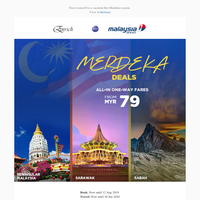 {NAME}, Fares from MYR79 - Merdeka Deals are here