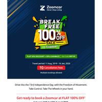 Gear up for Independence Day. FLAT 100% OFF* on Zoomcar.