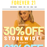 💰ALL 21% OFF + 30% In-Store!