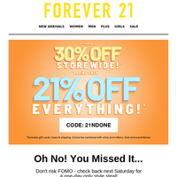 24HRS ONLY: EXTRA 21% OFF SATURDAY STEALS