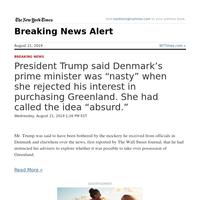 Breaking News: President Trump said Denmark's prime minister was \