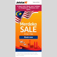 🎉 Hari Merdeka! All-in sale fares from RM48^ to Singapore, Okinawa and more.