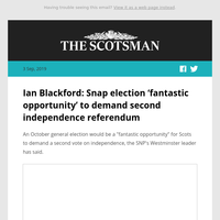 Ian Blackford: Snap election 'fantastic opportunity' to demand second independence referendum
