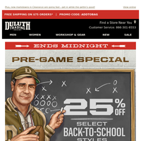 LAST CHANCE For 25% OFF Back-To-School Styles