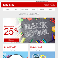 Up to 25% off Back to School essentials