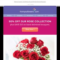 Rose Sale! 50% Off Fresh Cut 🌹