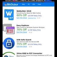 WeBuilder 2018, Easy Explorer, USB Safe Guard, Shine EDB to PST Converter, Back to School 70% Off!, ScanPapyrus at BitsDuJour Today
