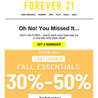 FINAL HOURS FOR 30%-50% OFF