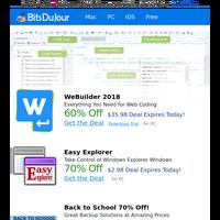 WeBuilder 2018, Easy Explorer, Back to School 70% Off!, ScanPapyrus, HyperCam, A1 Sitemap Generator 10.x Pro edition at BitsDuJour Today