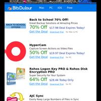 Back to School 70% Off!, HyperCam, Rohos Logon Key PRO & Rohos Disk Encryption PRO, AJC Sync, File Xterminator, EZBurner at BitsDuJour Today