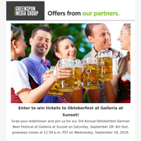 Win Tickets to Oktoberfest German Beer Festival at Galleria at Sunset