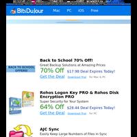 Back to School 70% Off!, Rohos Logon Key PRO & Rohos Disk Encryption PRO, AJC Sync, EZBurner, VoiceBot, vCard Importer at BitsDuJour Today