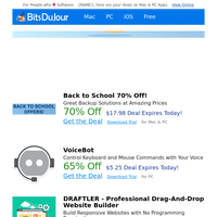 Back to School 70% Off!, VoiceBot, DRAFTLER - Professional Drag-And-Drop Website Builder, Twiti - Twitter Bot, vCard Export, PDF Compressor V3 at BitsDuJour Today