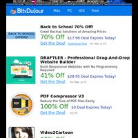 Back to School 70% Off!, DRAFTLER - Professional Drag-And-Drop Website Builder, PDF Compressor V3, Video2Cartoon, AudioLava, Hidden Start at BitsDuJour Today